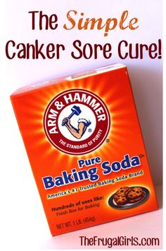 Canker Sore Cure... Simply dab some baking soda on your finger, then apply it directly to your canker sore. Tastes icky, andit HURTS but it will send those canker sores packing! You may need to apply it a few times per day, but your canker sores will be gone in a jiffy!