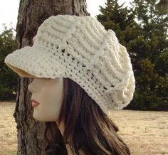 Aran Newsboy Cap, Visor Hat, cream billed Beanie, crochet cap, visor beanie hat, winter hat