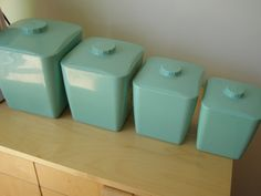vintage aqua kitchen canisters