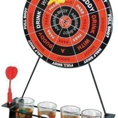 This is the ultimate drinking game that should be on everyone's Christmas list. Ideal for when your mates come round or when you have a family get-together. Simply through the dart to decide your fate. Comes supplied with Dart Board, 2 Darts & 4 Shot glassed (no shots included)
