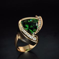 18k Gold and Chome Tourmaline Ring by Gordon Aatlo Designs...beautiful