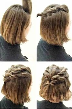Lazy Girl Hairstyles, Easy Everyday Hairstyles, Prom Hairstyles For Short Hair, Step By Step Hairstyles, Work Hairstyles, Quick Hairstyles, Elegant Hairstyles, Asymmetrical Hairstyles, Wedding Hairstyles