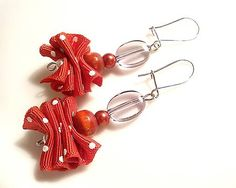 Naušnice Semmi Red, wire wrapped beads diy earrings