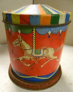 Vintage Spinning Merry Go Round tin