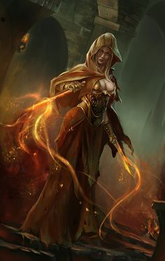She reminds me of Kyrie, a spell caster who uses her magic to hurt others. Kyrie is Lyra's sister.  (Artist Unknown)