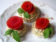 Tomato Roses & Hummus tea sandwiches