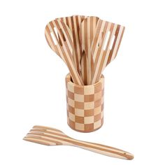 Meleg Otthon Bamboo Wood Cooking Serving Utensil Set, 7 Piece Kitchen Serving Set With Holder Natural kitchen utensils Non Stick Cookware …(7 Piece sets) >>> Check out this great image  : Utensil Organizers
