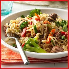 Asian Beef and Noodles Recipe -This colorful, economical stir-fry dish takes only five ingredients—all of which you're likely to have on hand. Serve with a dash of soy sauce and a side of pineapple slices. Or try ground turkey instead of beef! Beef Recipes Uk, Chinese Beef Recipes, Ground Beef Recipes, Asian Recipes, Cooking Recipes, Noodle Recipes, Fun Recipes, Chinese Food, Kitchen