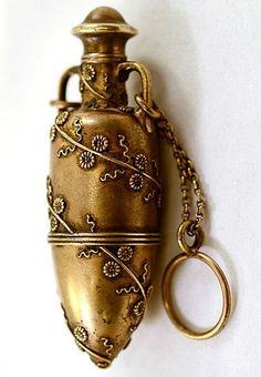 """Antique Tiffany&Co sterling chatelaine perfume scent bottle, gilded in gold, c1873, height 3""""."""