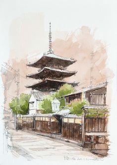 京都八坂,Kyoto Yasaka,Original Watercolor painting by Masato Watanabe