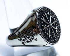 Anillo Vegvísir vikingo, bárbaro brújula Gladiator pagana Asatru pagano vikingo runas anillo plata de ley 925