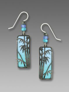 Adajio MOON PHASES on Blue Column Earrings STERLING Overlay Dangle Wrapped Box