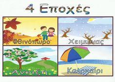 Ελένη Μαμανού: Πίνακες Αναφοράς για τις Εποχές Kid Spaces, First Grade, Poster Wall, Worksheets, Back To School, Seasons, Education, Day, Blog