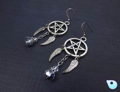 Pentacle Earrings, Wiccan Earrings, Supernatural, Wiccan Jewelry, Gothic…