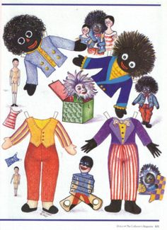 Golliwogg - Debbie - Picasa Albums free paper dolls for Christmas at artist Arielle Gabriels The International Paper Doll Society and also free Asian paper dolls at The China Adventures of Arielle Gabriel * Paper Toys, Paper Crafts, History Of Paper, African American Dolls, Black Artwork, Vintage Paper Dolls, Retro Toys, Black Paper, Vintage Girls