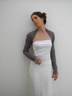 gray wool lace semisheer shrug neo victorian style by yamihandmade, €45.00