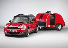 """and """"POOF""""....my Red Mini Cooper with matching teardrop trailer. Too Cute!"""
