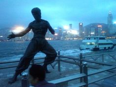 Bruce Lee Statue at Hong Kong Harbor