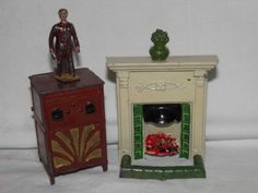 Dolls-House-Vintage-Old-Metal-Fire-place-surround-Metal-Radiogram