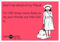 Don't be afraid of my Pitbull. I'm 100 times more likely to rip your throat out than she is.