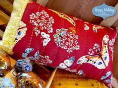 Happy Holidays with FreeSpirit & Rowan: Lumbar Pillow with Hand Stitched Accents | Sew4Home