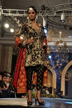 Black and red churidar by Elan at PFDC L'Oreal Paris Bridal Week 2013