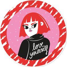 Adesivo Love Yourself de Camila Rosa sobre ilustração, mulheres, girl, colorful, woman, feminismo, garotas, feminista, girls, women, poderosa, powerful, camilarosa