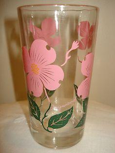 Vintage Boscul Peanut Butter Drink Glass Swanky Swig Flowers Pink Dogwood 50s