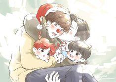 Chanbaek Fanart, Exo Chanbaek, Exo Ot12, Exo Fan Art, Chanyeol, Chibi, Anime, Writing Ideas, Daddy