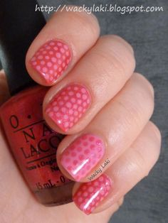 How cute! I love how the ring finger is the reverse colors.  Wacky Laki: OPI Vintage Minnie Mouse Polka Dot