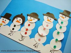 letters and numbers made of snowmen Winter Activities For Kids, Winter Crafts For Kids, Winter Kids, Art For Kids, Preschool Christmas, Christmas Activities, Craft Activities, Preschool Crafts, Snowman Crafts