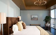 contemporary bedroom by Cravotta Interiors/blue and brown bedroom False Ceiling Living Room, Bedroom Ceiling, Bedroom Wall, Bedroom Decor, Bedroom Color Schemes, Bedroom Paint Colors, Contemporary Bedroom, Modern Bedroom, Master Bedroom