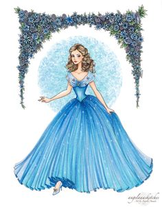 """angelaaasketches: """"My Cinderella illustration drawn with pen and colored with Copic markers :) This took me soooo long to draw, especially the flower border! Anyways, I hope you guys like it! Disney Princess Fashion, Disney Princess Drawings, Disney Drawings, Disney Style, Disney Love, Disney Magic, Cinderella Movie, Cinderella 2015, Cinderella Princess"""