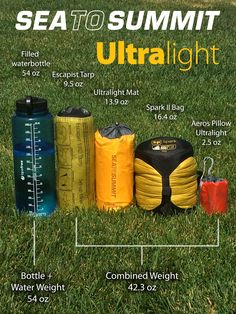 Our entire line of ultralight sleep system products weigh less than a filled water-bottle! Find out more here: www.seatosummit.com
