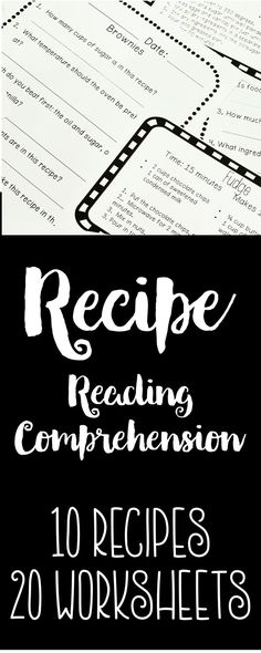 Here is a product that contains materials to set up a recipe reading comprehension center. Included in this product is 10 recipe cards, 20 recipe comprehension worksheets, plus labels, a folder cover, and directions to set these materials up as a center. Students can work on this center independently or with the assistance of a teacher or paraprofessional, depending on your students' abilities. It's a great way to use environmental print to practice reading comprehension.