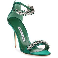 Firadou 105 Emerald Crystal Sandal ($1,240) ❤️ liked on Polyvore featuring shoes, sandals, green, manolo blahnik sandals, high heel stilettos, emerald green shoes, green sandals and ankle wrap sandals