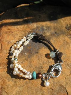 Pearlz Pearlz PearlzSuede and Pearl Mix   Boho by fleurdesignz, $28.00