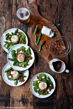 Beer Brined Scallops over Spinach Salad With Bacon Stout Dressing