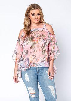 Plus Size Sheer Floral Blouse - Debshops.com ♡