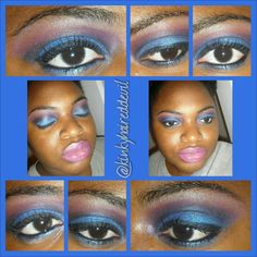 Pink and blue smokey look using my coastal scenys 252 palette.