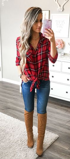 #fall #outfits women's red, black, and white plaid dress shirt. Click To Shop This Look.