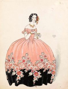 "George Barbier, A lady in a floral dress holding a cup of tea, ""La tasse de thé& Séraphine en rose et noir […]' and with stamp E' (verso), George Barbier (Nantes Paris), traces of. Art Deco Illustration, Art Deco Fashion, Fashion Prints, Vintage Posters, Vintage Art, Crayons Pastel, Art Deco Stil, 1920s, Fashion Plates"