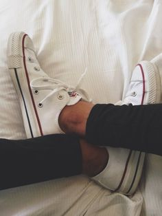 I do this all the time, white converse and black skinny jeans. You can never go wrong with this combination!