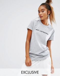 Image 1 of Adolescent Clothing Boyfriend T-Shirt With Not Listening Print