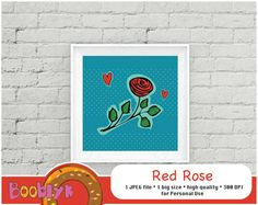 ❂❂❂ This listing is for an DIGITAL FILES only ❂❂❂    Red Rose. Printable Wall Art. Home Decor.  Code: L-PW-0008    This listing contains a printable wall poster of cartoon hand drown red rose on the dotted background. This cartoon style wall art can be a perfect decoration for your living room or even office.    There are 1 big size of square format poster. You will get JPEG file with printable poster immediately after your purchase. You need just print it out on your printer or a local…