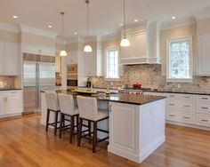 white kitchen with brown granite countertops - Google Search