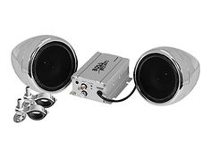 BOSS AUDIO MC420B Chrome 600 watt Motorcycle/ATV Sound System with Bluetooth Audio Streaming, One Pair of 3 inch Weather Proof Speakers, Aux Input and Volume Control