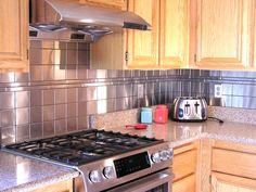 modern look- square stainless steel tiles, customer backsplash, Kitchen Remodel