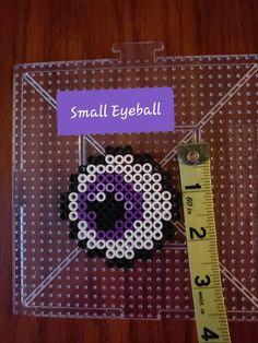 Items similar to Scary Eyeballs on Etsy Perler Bead Designs, Hama Beads Design, Diy Perler Beads, Perler Bead Art, Pearler Beads, Fuse Beads, Melty Bead Patterns, Pearler Bead Patterns, Kandi Patterns