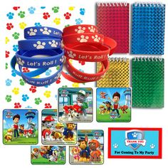Paw Patrol Party Favor Bag Sets: Bags, Wristbands, Stickers, Notepads, Thank You Tags.